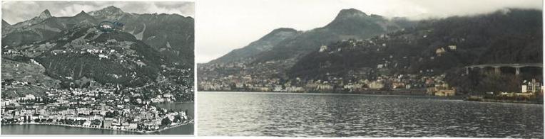 Montreux en los años 60 y hoy (véase a la derecha la autopista elevada).