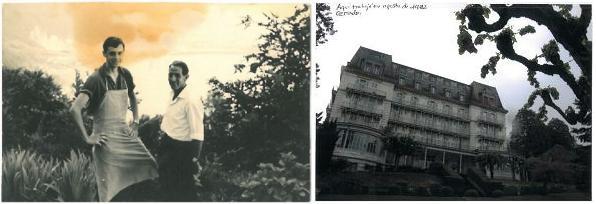 En los jardines del hotel Righi Vaudoise, en julio de 1963, con Manolo. / El hotel hoy, propicio para rodar una peli de miedo.